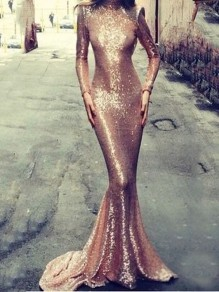 Pink Bright Wire Backless Bodycon Mermaid Prom Evening Party Maxi Dress