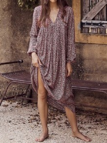Purple Leopard V-neck Oversize Long Sleeve Beach Maxi Dress