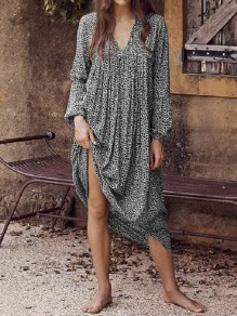 Black Leopard V-neck Oversize Long Sleeve Beach Maxi Dress