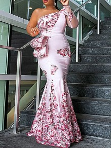 Pink Patchwork Floral Embroidered Print Grenadine Long Sleeve Bodycon Mermaid Prom Maxi Dress