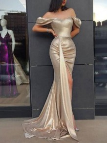 Golden Pleated Side Slit Off Shoulder Backless Mermaid Banquet Party Maxi Dress