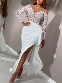 White Patchwork Grenadine Lace Ruffle Thigh High Side Slits Bodycon Mermaid Prom Evening Party Maxi Dress