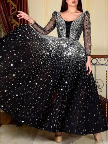 Black Patchwork Rhinestone Sequin Grenadine Pleated Tutu Sparkly Glitter Birthday Prom Evening Party Maxi Dress