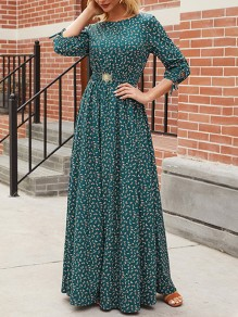 Green Floral Draped Round Neck 3/4 Sleeve Vintage Maxi Dress