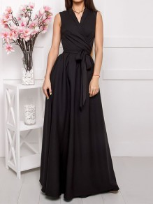 Black Belt Pleated V-neck Prom Evening Party