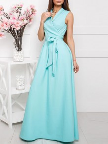 Sky Blue Belt Pleated V-neck Prom Evening Party