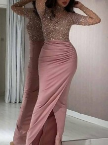 Pink Bright Wire Grenadine Bodycon High-Low Sparkly Glitter Birthday Prom Evening Party Maxi Dress