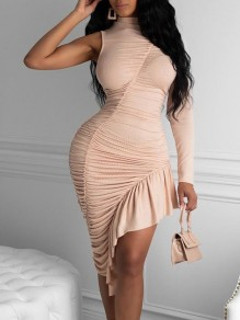 Champagne Pleated Irregular Asymmetric Shoulder Bodycon Party Maxi Dress