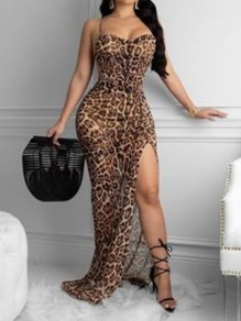 Leopard Print Grenadine Side Slits Backless Bodycon Mermaid Sheer Party Maxi Dress