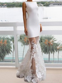 White Patchwork Lace Bodycon Mermaid Prom Evening Party Maxi Dress