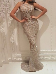 Silver Patchwork Lace Tassel Bodycon Mermaid Prom Evening Party Maxi Dress