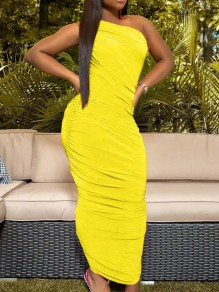 Yellow One Off Shoulder Pleated Scrunch Bodycon Party Maxi Dress