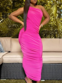 Rose Carmine One Off Shoulder Pleated Scrunch Bodycon Party Maxi Dress