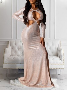 Champagne Sequin Cut Out Long Sleeve Slit Bodycon Clubwear Glitter Sparkly Birthday Party Maxi Dress