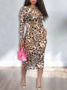 Brown Grenadine Leopard Print Round Neck Long Sleeve Bodycon Clubwear Sheer Maxi Dress