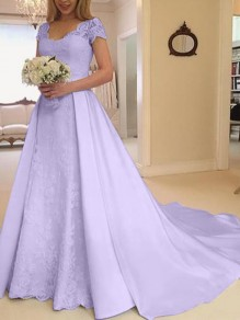 Purple Patchwork Lace Cut Out V-neck Short Sleeve Big Swing Wedding Prom Maxi Dress
