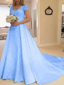 Blue Patchwork Lace Cut Out V-neck Short Sleeve Big Swing Wedding Prom Maxi Dress