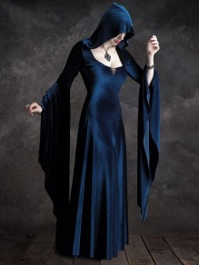 Navy Blue Drawstring Hooded Square Neck Flare Long Sleeve Halloween Gothic Maxi Dress