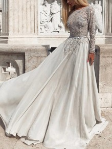 White Patchwork Sequin Grenadine Backless Long Sleeve Wedding Prom Maxi Dress