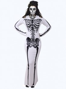 White Cut Out Skeleton Print Round Neck Long Sleeve Bodycon Halloween Costumes Maxi Dress
