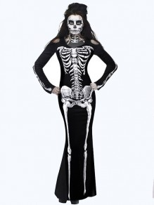 Black Cut Out Skeleton Print Round Neck Long Sleeve Bodycon Halloween Costumes Maxi Dress