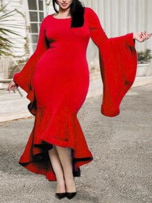 Red Ruffle Round Neck Big Flare Long Sleeve Bodycon Plus Size Mermaid Work Maxi Dress