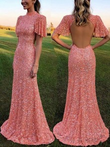 Pink Sequin Print Backless Band Collar Short Sleeve Glitter Sparkly Birthday Party Maxi Dress