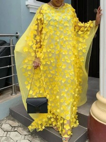 Yellow Patchwork 3D Grenadine Floral Embroidered Print Round Neck Dolman Sleeve Africa Robe Style Maxi Dress