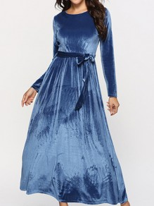 Blue Sashes Round Neck Long Sleeve Elegant Maxi Dress