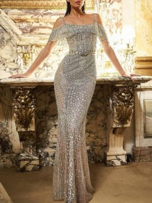 Silver Patchwork Sequin Tassel Shoulder-Strap Glitter Sparkly Birthday Party Prom NYE Maxi Dress