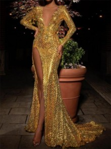 Golden Sequin Snake Skin Print Deep V-neck Long Sleeve Mermaid Glitter Sparkly Party Prom NYE Maxi Dress