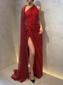 Red Sequin Patchwork Cape Sleeveless Slit Glitter Sparkly Party Prom NYE Maxi Dress