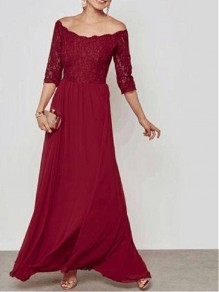 Burgundy Patchwork Lace Cut Out Grenadine Off Shoulder Elbow Sleeve Bridesmaid Maxi Dress