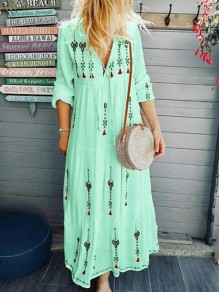 Light Green Floral Mexico Embroidered Print Drawstring V-neck Long Sleeve Flowy Bohemian Midsommar Costume Maxi Dress