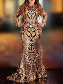 Golden Sequin Pattern Print Round Neck Long Sleeve Mermaid Glitter Sparkly Birthday Party Prom Maxi Dress