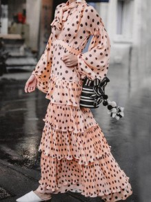 Pink Polka Dot Pattern Cascading Ruffle Lantern Sleeve Flowy Banquet Party Maxi Dress