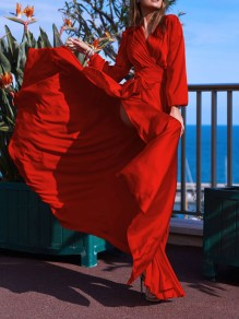 Red Slit Sashes V-neck Long Sleeve Flowy Elegant Maxi Dress