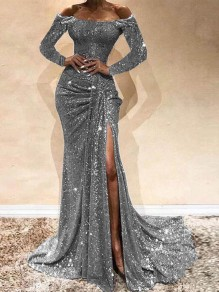 Silver Sequin Off Shoulder Long Sleeve Ruched Slit Mermaid Glitter Sparkly Birthday Party Prom Maxi Dress