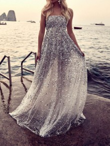White Sequin Glitter Sparkly Bandeau Backless Elegant Maxi Dress