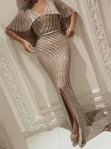 Golden Patchwork Sequin Grenadine Tassel Cape Mermaid Slit Prom Maxi Dress