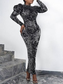 Black Sequin Puff Sleeve Bodycon Sparkly Banquet Party Maxi Dress