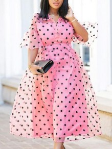 Pink Polka Dot Grenadine Turndown Collar Half Sleeve Banquet Party Maxi Dress
