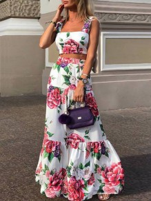 White Floral Print Shoulder-Strap Square Neck Sleeveless Flowy Maxi Dress