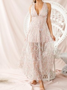 Apricot Patchwork Sequin Tassel Cross Back Sparkly Glitter Wedding Banquet Party Maxi Dress