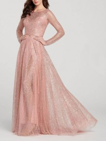 Pink Sequin Grenadine Draped Sparkly Glitter Wedding Banquet Party Maxi Dress