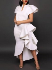 White Irregular Ruffle Side Slit Peplum Church Scuba Banquet Party Maxi Dress