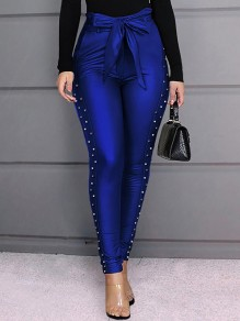 Blue Patchwork Belt Pearl High Waisted Long Pants