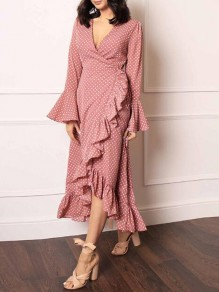 Pink-White Polka Dot Pattern Deep V-neck Flare Sleeve Irregular Flowy Bohemian Maxi Dress