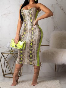 Yellow Snake Skin Print Bandeau Bodycon Fashion Midi Dress