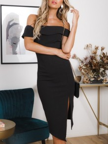 Black Irregular Side Slit Off Shoulder Short Sleeve Cocktail Party Midi Dress